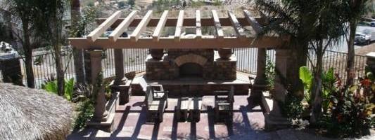 Custom fireplace and trellis